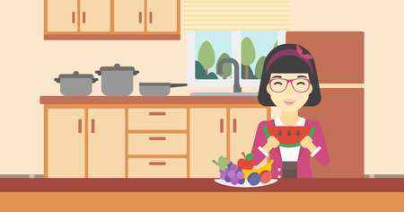 watermelon woman: An asian woman eating watermelon in front of table full of fresh fruits. Smiling young woman holding a slice of watermelon in the kitchen. Vector flat design illustration. Horizontal layout.