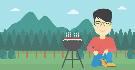 grilling: An asian man sitting next to barbecue grill in the park. Man cooking meat on the barbecue grill. Man having a barbecue party. Vector flat design illustration. Horizontal layout.