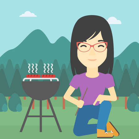 preparing food: An asian young woman sitting next to barbecue grill in the park. Woman cooking meat on the barbecue grill. Woman having a barbecue party. Vector flat design illustration. Square layout. Illustration