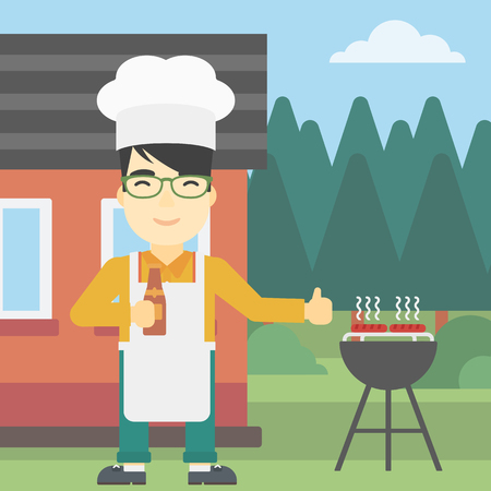 gas barbecue: An asian man with bottle in hand cooking meat on gas barbecue grill in the backyard and giving thumb up. Man cooking meat on barbecue. Vector flat design illustration. Square layout.