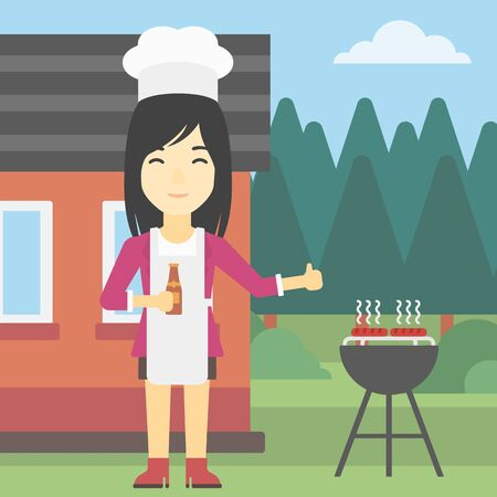gas barbecue: An asian woman with bottle in hand cooking meat on gas barbecue grill in the backyard and giving thumb up. Woman cooking meat on barbecue. Vector flat design illustration. Square layout. Illustration