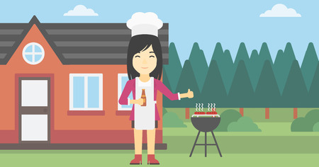 gas barbecue: An asian woman with bottle in hand cooking meat on gas barbecue grill in the backyard and giving thumb up. Woman cooking meat on barbecue. Vector flat design illustration. Horizontal layout. Illustration