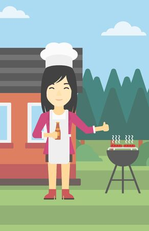 An asian woman with bottle in hand cooking meat on gas barbecue grill in the backyard and giving thumb up. Woman cooking meat on barbecue. Vector flat design illustration. Vertical layout. Illustration