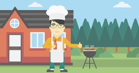 backyard: An asian man with bottle in hand cooking meat on gas barbecue grill in the backyard and giving thumb up. Man cooking meat on barbecue. Vector flat design illustration. Horizontal layout.