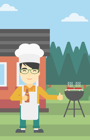 gas man: An asian man with bottle in hand cooking meat on gas barbecue grill in the backyard and giving thumb up. Man cooking meat on barbecue. Vector flat design illustration. Vertical layout.