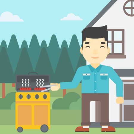 An asian man cooking meat on gas barbecue grill in the backyard. Man preparing food on barbecue grill. Man having outdoor barbecue. Vector flat design illustration. Square layout.