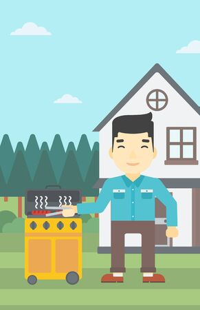 backyard: An asian man cooking meat on gas barbecue grill in the backyard. Man preparing food on barbecue grill. Man having outdoor barbecue. Vector flat design illustration. Vertical layout.