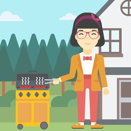 preparing food: An asian woman cooking meat on gas barbecue grill in the backyard. Woman preparing food on barbecue grill. Woman having outdoor barbecue. Vector flat design illustration. Square layout.