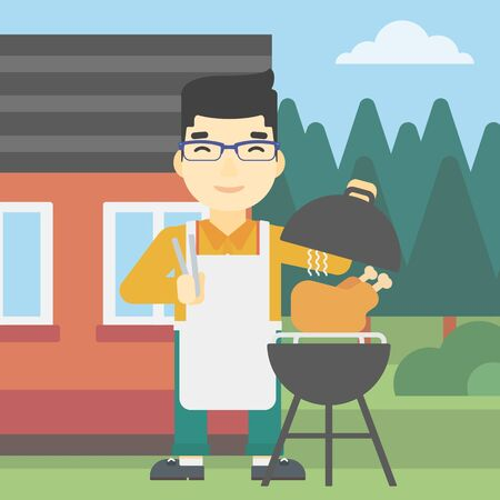 preparing: An asian man cooking chicken on barbecue grill in the backyard. Man having a barbecue party. Man preparing chicken on grill. Vector flat design illustration. Square layout.