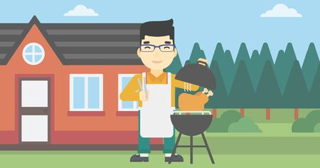 An asian man cooking chicken on barbecue grill in the backyard. Man having a barbecue party. Man preparing chicken on grill. Vector flat design illustration. Horizontal layout.
