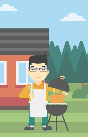 preparing: An asian man cooking chicken on barbecue grill in the backyard. Man having a barbecue party. Man preparing chicken on grill. Vector flat design illustration. Vertical layout.