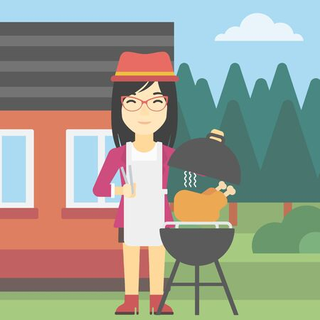 backyard woman: An asian woman cooking chicken on barbecue grill in the backyard. Woman having a barbecue party. Woman preparing chicken on the grill. Vector flat design illustration. Square layout.