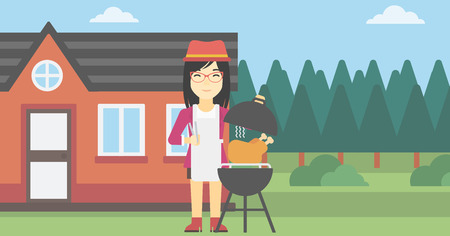 An asian woman cooking chicken on barbecue grill in the backyard. Woman having a barbecue party. Woman preparing chicken on the grill. Vector flat design illustration. Horizontal layout.