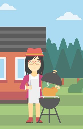 backyard woman: An asian woman cooking chicken on barbecue grill in the backyard. Woman having a barbecue party. Woman preparing chicken on the grill. Vector flat design illustration. Vertical layout.