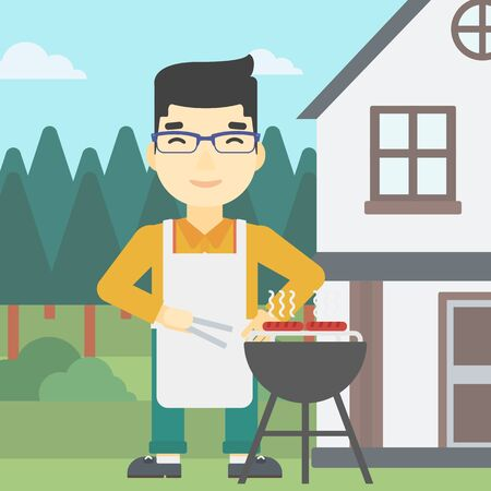 preparing food: An asian man cooking meat on the barbecue grill in the backyard. Man preparing food on the barbecue grill. Man having outdoor barbecue. Vector flat design illustration. Square layout.