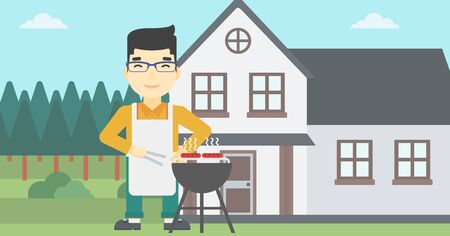 preparing food: An asian man cooking meat on the barbecue grill in the backyard. Man preparing food on the barbecue grill. Man having outdoor barbecue. Vector flat design illustration. Horizontal layout.
