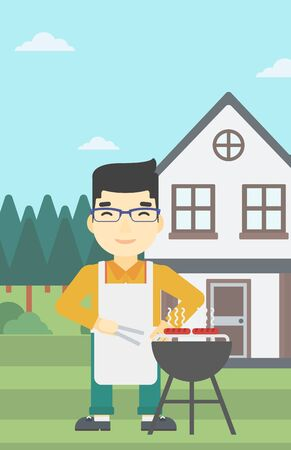 preparing food: An asian man cooking meat on the barbecue grill in the backyard. Man preparing food on the barbecue grill. Man having outdoor barbecue. Vector flat design illustration. Vertical layout.