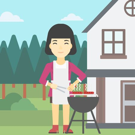 backyard woman: An asian woman cooking meat on the barbecue grill in the backyard. Woman preparing food on barbecue grill. Woman having outdoor barbecue. Vector flat design illustration. Square layout. Illustration