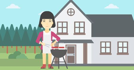 An asian woman cooking meat on the barbecue grill in the backyard. Woman preparing food on barbecue grill. Woman having outdoor barbecue. Vector flat design illustration. Horizontal layout. Illustration