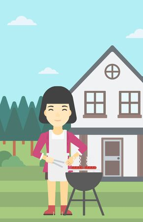 backyard woman: An asian woman cooking meat on the barbecue grill in the backyard. Woman preparing food on barbecue grill. Woman having outdoor barbecue. Vector flat design illustration. Vertical layout. Illustration