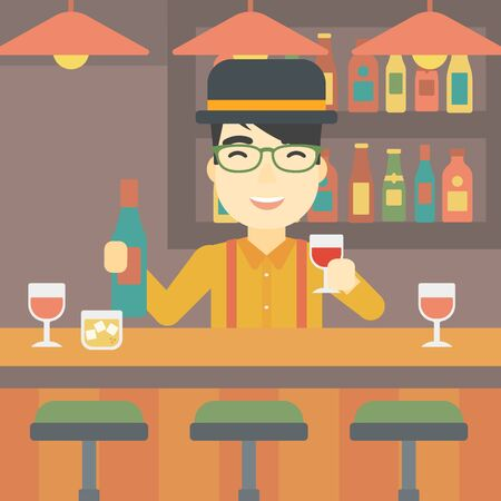 bar counter: An asian bartender standing at the bar counter. Bartender with a bottle and a glass in hands. Bartender at work. Vector flat design illustration. Square layout.