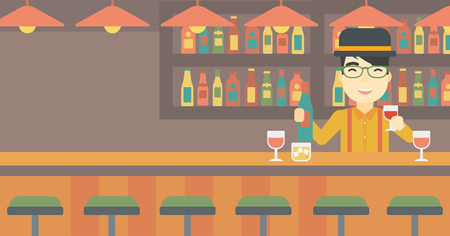 bar counter: An asian bartender standing at the bar counter. Bartender with a bottle and a glass in hands. Bartender at work. Vector flat design illustration. Horizontal layout.