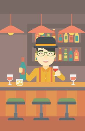 bar counter: An asian bartender standing at the bar counter. Bartender with a bottle and a glass in hands. Bartender at work. Vector flat design illustration. Vertical layout.