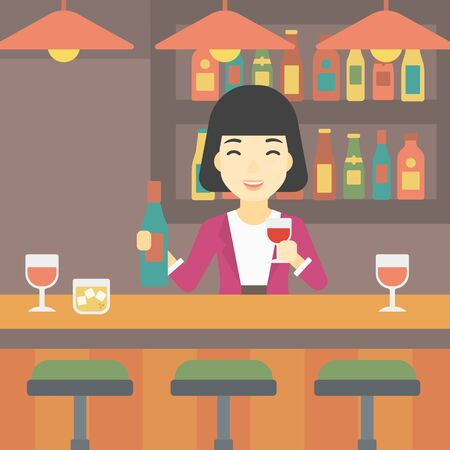 bar counter: An asian female bartender standing at the bar counter. Female bartender with a bottle and a glass in hands. Female bartender at work. Vector flat design illustration. Square layout. Illustration