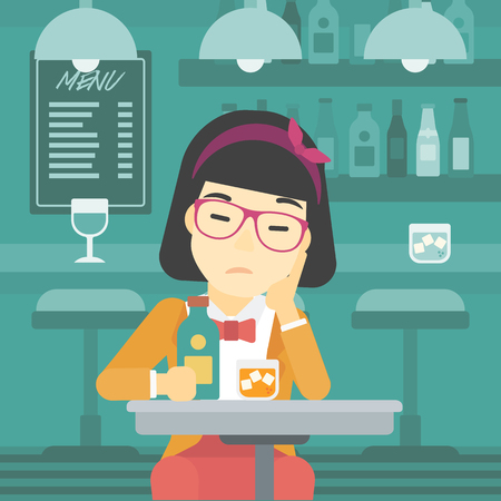 alcohol abuse: An asian sad woman sitting at the bar with glass of alcoholic beverage. Young woman sitting alone at the bar and drinking alcohol. Vector flat design illustration. Square layout.