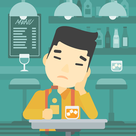 alone man: An asian sad man sitting at the bar with glass of alcoholic beverage. Young man sitting alone at the bar and drinking alcohol. Vector flat design illustration. Square layout. Illustration