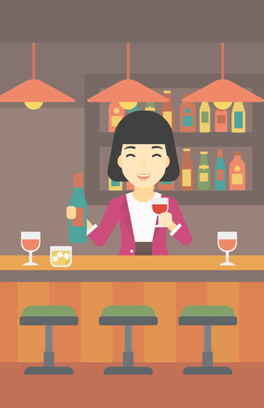 bar counter: An asian female bartender standing at the bar counter. Female bartender with a bottle and a glass in hands. Female bartender at work. Vector flat design illustration. Vertical layout.