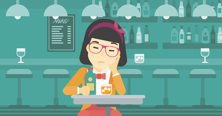 young woman sitting: An asian sad woman sitting at the bar with glass of alcoholic beverage. Young woman sitting alone at the bar and drinking alcohol. Vector flat design illustration. Horizontal layout.