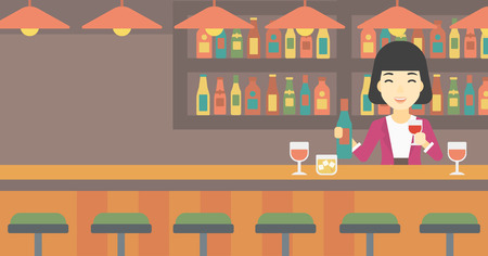 bar counter: An asian female bartender standing at the bar counter. Female bartender with a bottle and a glass in hands. Female bartender at work. Vector flat design illustration. Horizontal layout.