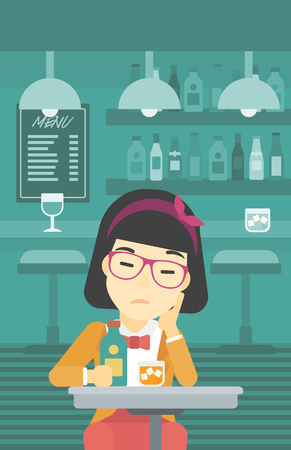young woman sitting: An asian sad woman sitting at the bar with glass of alcoholic beverage. Young woman sitting alone at the bar and drinking alcohol. Vector flat design illustration. Vertical layout. Illustration