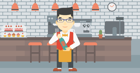 sommelier: An asian young waiter holding a bottle in hands on the background of a cafe. Vector flat design illustration. Horizontal layout.
