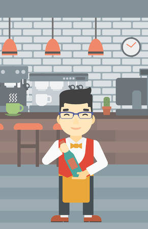 steward: An asian young waiter holding a bottle in hands on the background of a cafe. Vector flat design illustration. Vertical layout.