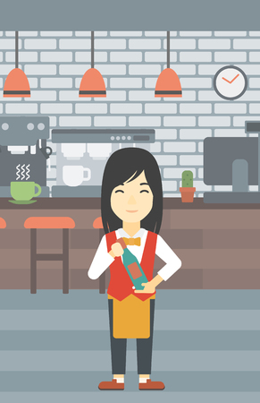 An asian young waitress holding a bottle in hands on the background of a cafe. Vector flat design illustration. Vertical layout. Illustration