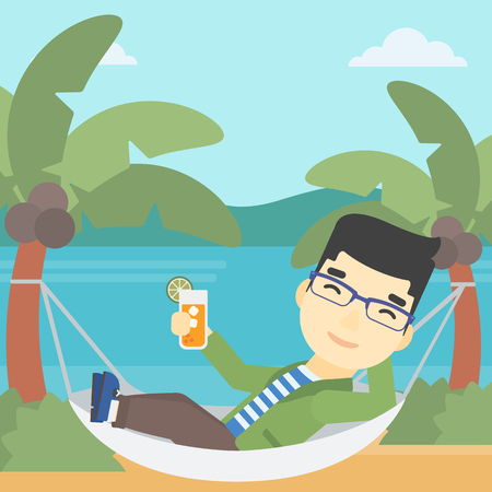 An asian young man chilling in hammock on the beach with a cocktail in a hand. Vector flat design illustration. Square layout.