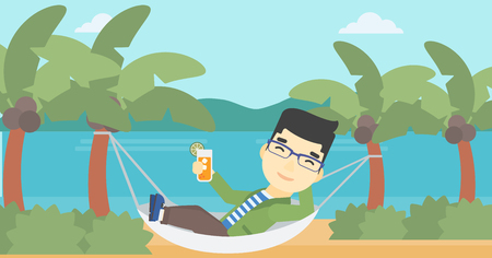 An asian young man chilling in hammock on the beach with a cocktail in a hand. Vector flat design illustration. Horizontal layout.