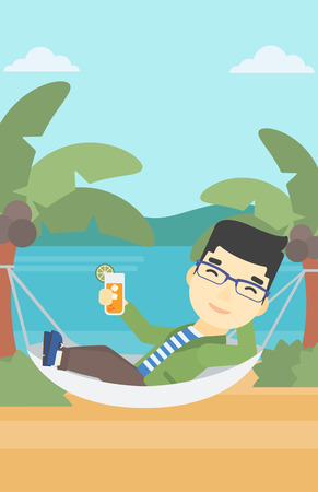 chilling: An asian young man chilling in hammock on the beach with a cocktail in a hand. Vector flat design illustration. Vertical layout.