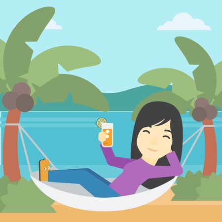 An asian young woman chilling in hammock on the beach with a cocktail in a hand vector flat design illustration. Square layout.