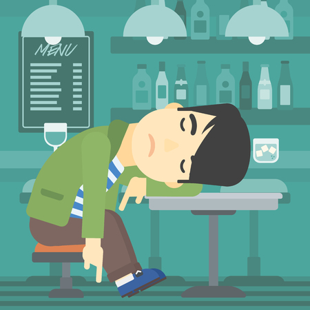 deeply: An asian drunk man deeply sleeping near the bottle of wine and glass on table. Drunk man sleeping in bar. Alcohol addiction concept. Vector flat design illustration. Square layout.