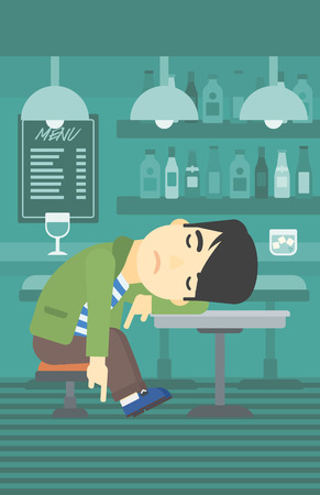 deeply: An asian drunk man deeply sleeping near the bottle of wine and glass on table. Drunk man sleeping in bar. Alcohol addiction concept. Vector flat design illustration. Vertical layout.