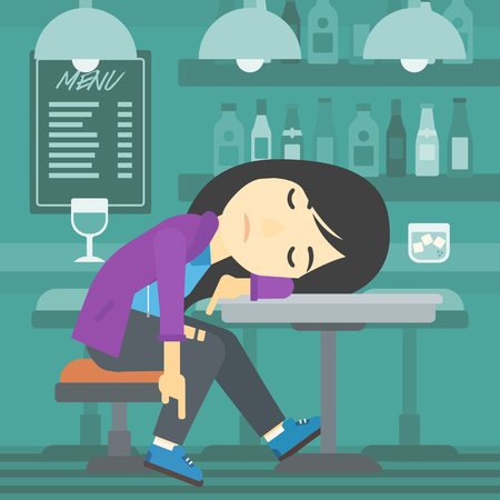 deeply: An asian drunk woman deeply sleeping near the bottle of wine and glass on table. Drunk woman sleeping in bar. Alcohol addiction concept. Vector flat design illustration. Square layout. Illustration