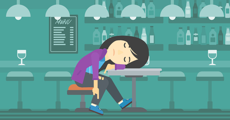 An asian drunk woman deeply sleeping near the bottle of wine and glass on table. Drunk woman sleeping in bar. Alcohol addiction concept. Vector flat design illustration. Horizontal layout.