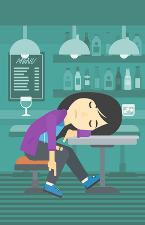 An asian drunk woman deeply sleeping near the bottle of wine and glass on table. Drunk woman sleeping in bar. Alcohol addiction concept. Vector flat design illustration. Vertical layout.