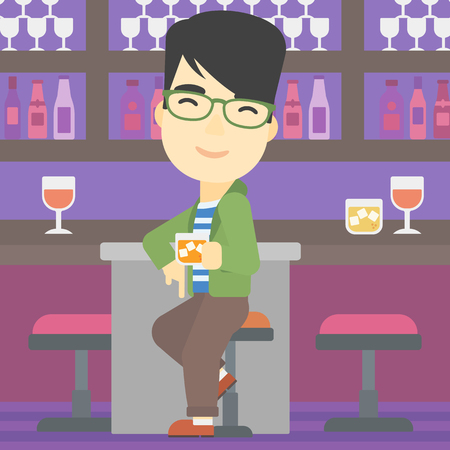 bar counter: An asian man sitting at the bar counter. Man sitting with glass in bar. Cheerful young man sitting alone at the bar counter. Vector flat design illustration. Square layout.