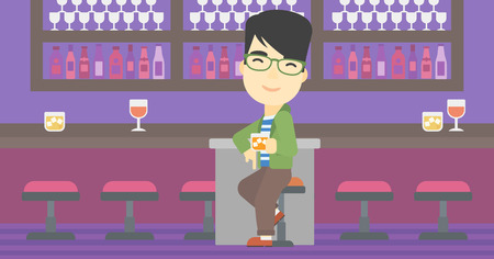 bar counter: An asian man sitting at the bar counter. Man sitting with glass in bar. Cheerful young man sitting alone at the bar counter. Vector flat design illustration. Horizontal layout. Illustration