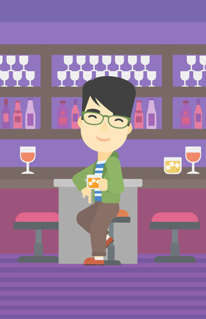 bar counter: An asian man sitting at the bar counter. Man sitting with glass in bar. Cheerful young man sitting alone at the bar counter. Vector flat design illustration. Vertical layout. Illustration
