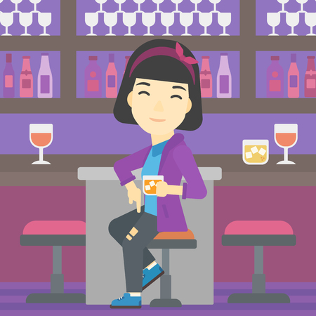 young woman sitting: An asian young woman sitting at the bar counter. Woman sitting with glass in bar. Cheerful young woman sitting alone at the bar counter. Vector flat design illustration. Square layout. Illustration